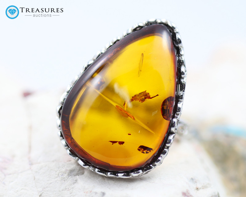 34Cts Baltic Amber Sale, Silver Ring - AM 1984