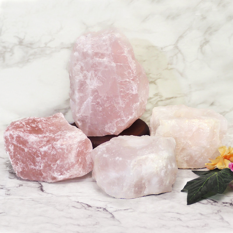 Rose Quartz Crystal Lamp Set 4 Pieces S355