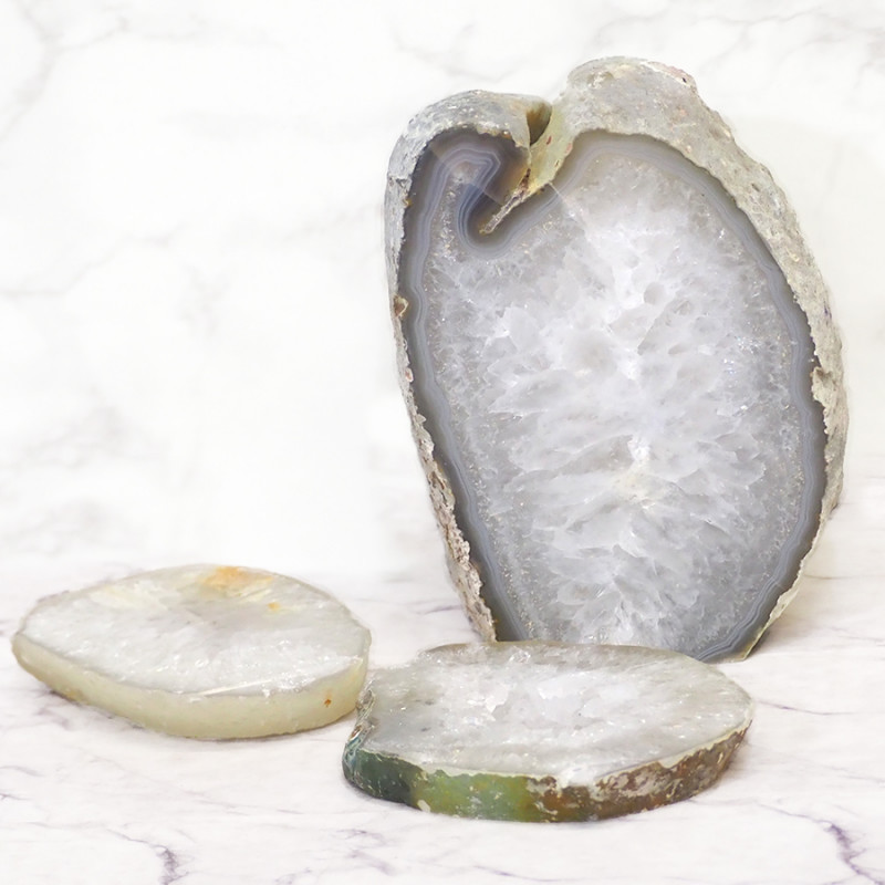2.36kg Agate Crystal Lamp with 2 Agate Crystal Costers S364