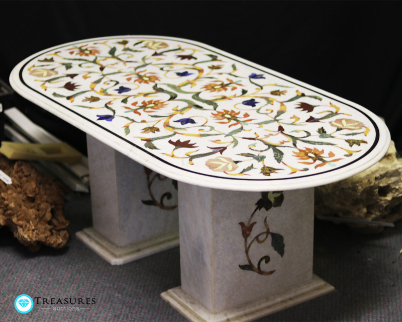 Pietra Dura Inlay White Marble Table, detailed Floral Design 50kilo
