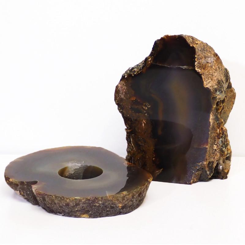 1.3kg Natural Agate Crystal Lamp and Tealight Candle Holder Set J160