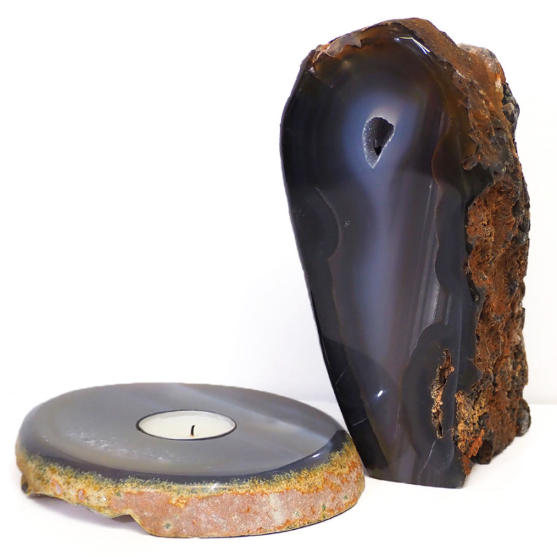 1.9kg Natural Agate Crystal Lamp and Tealight Candle Holder Set J168