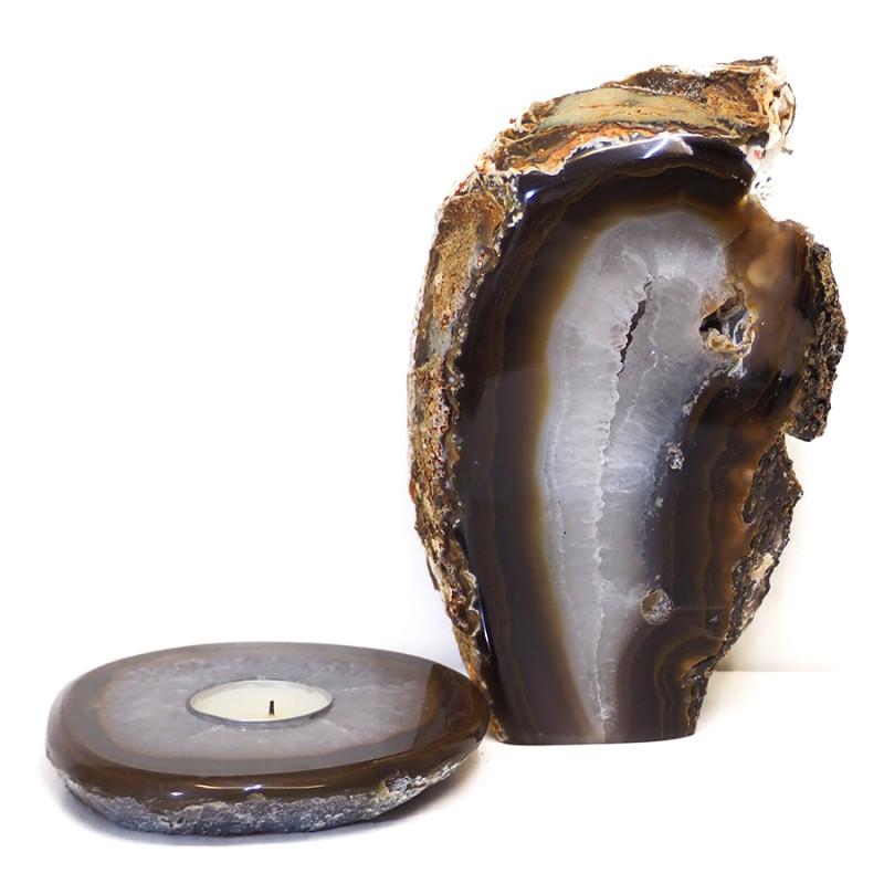 1.5kg Natural Agate Crystal Lamp and Tealight Candle Holder Set J171