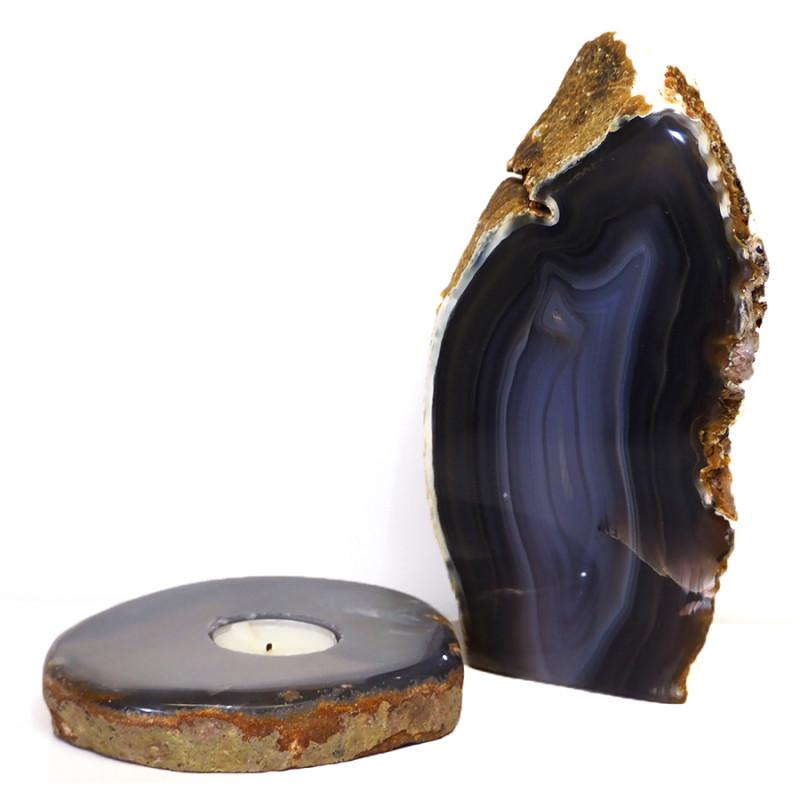 1.8kg Natural Agate Crystal Lamp and Tealight Candle Holder Set J172