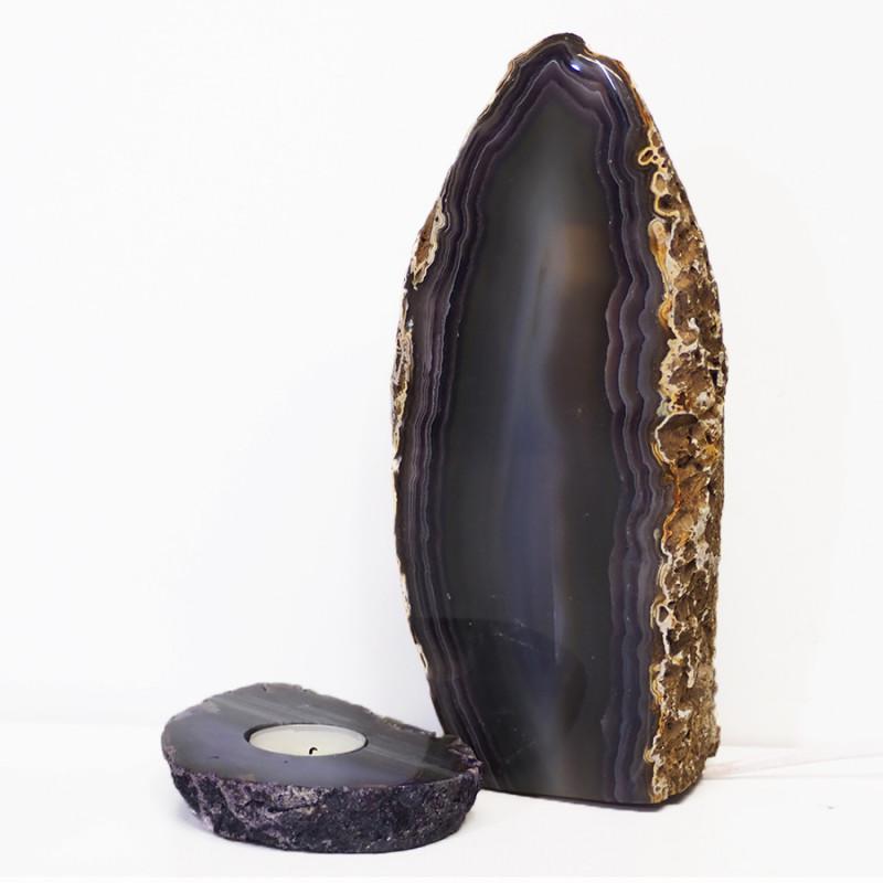2.8kg Natural Agate Crystal Lamp and Tealight Candle Holder Set J175
