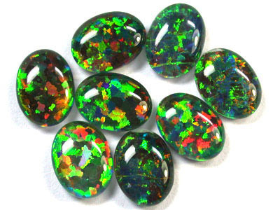 9.5 Cts Man made Opals, 5 Synthetic Stones  RN 1518