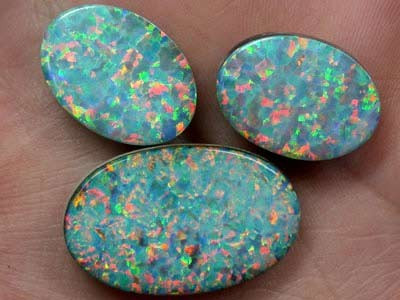 28.6 Cts Man made Opals, 3 Synthetic Stones  FO 621