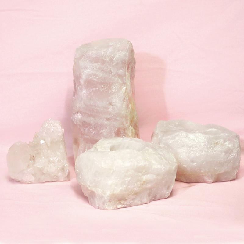 1.4kg Rose Quartz Crystal Lamp Set 4 pieces S386