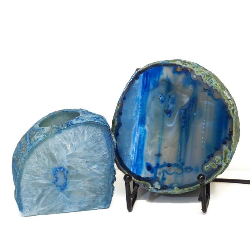 0.64kg Sliced Brazilian Crystal Agate Lamp&Tea Light Candle Holder J178