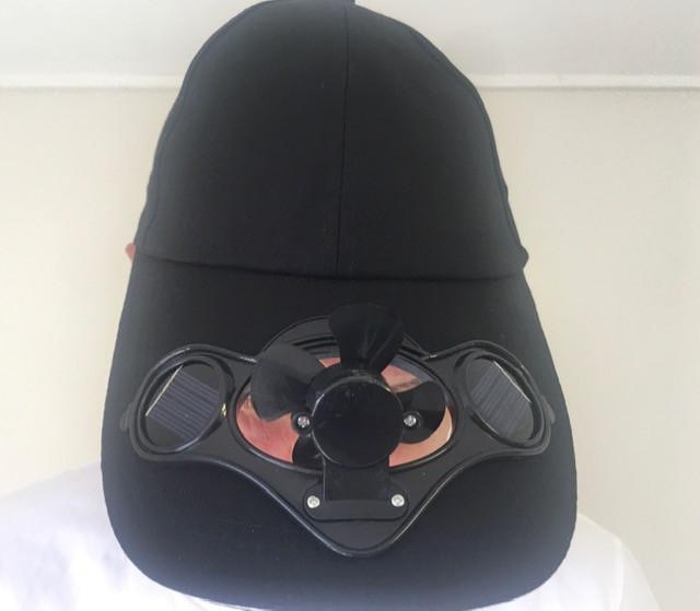 Black Solar Fan Hat  with Free LED light  H9