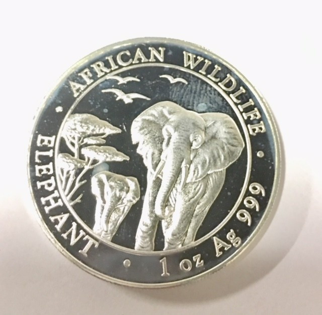 2015 Somalian Sh100 African Elephant 99.9% pure silver one ounce