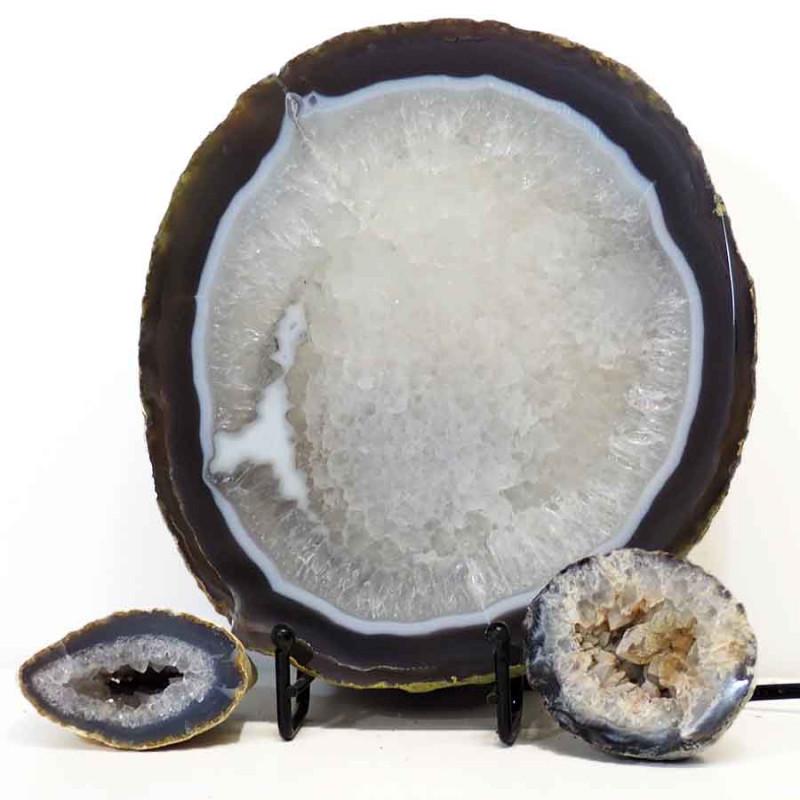 2.4kg Sliced Brazilian Crystal Agate Lamp with Crystal Specimen J263