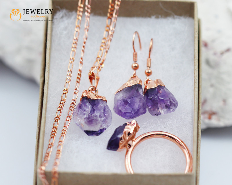 5 Piece Amethyst  Jewelry set $99 for $10.00  Ring Size Q