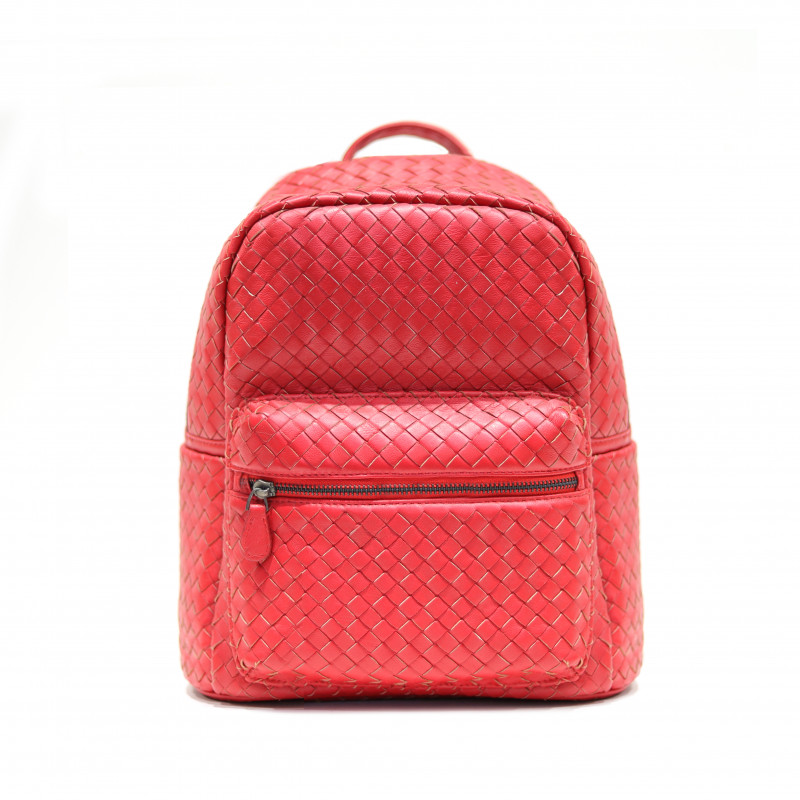 LAMB SKIN WOVEN BACKPACK  [RED]