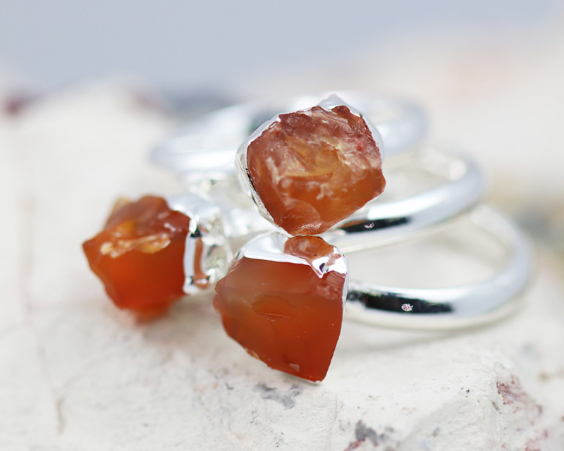 x3 Sacred Chakra Carnelian Rings Size i - CH30