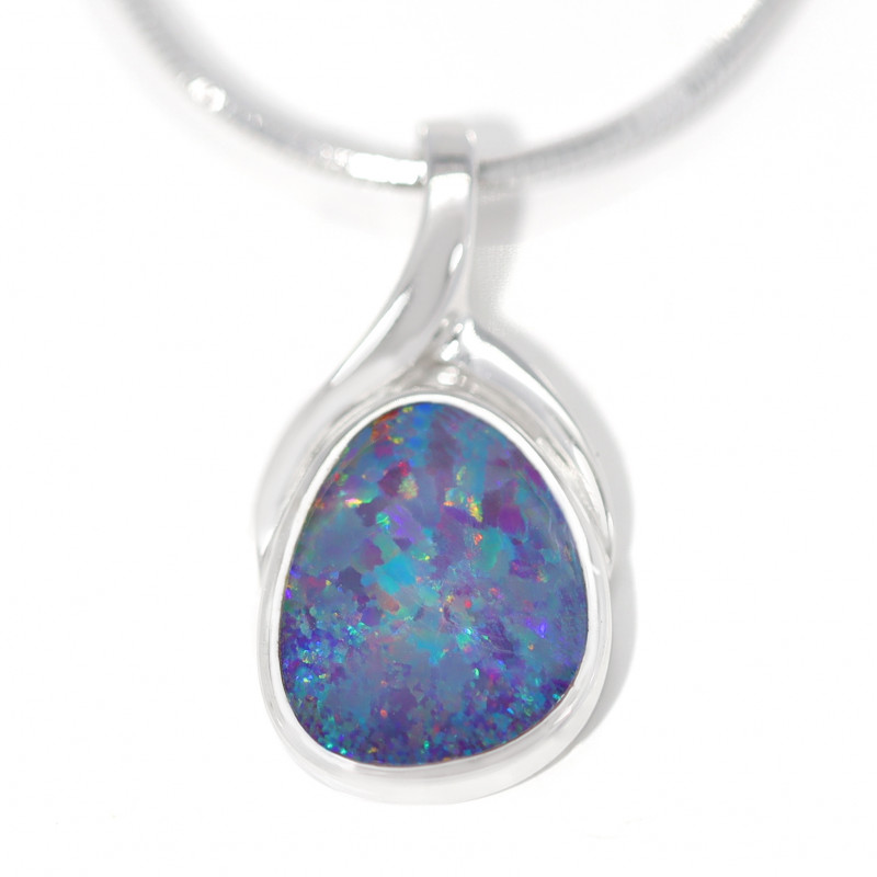 925 ST/ SILVER RHODIUM PLATED OPAL DOUBLET PENDANT [TP06]