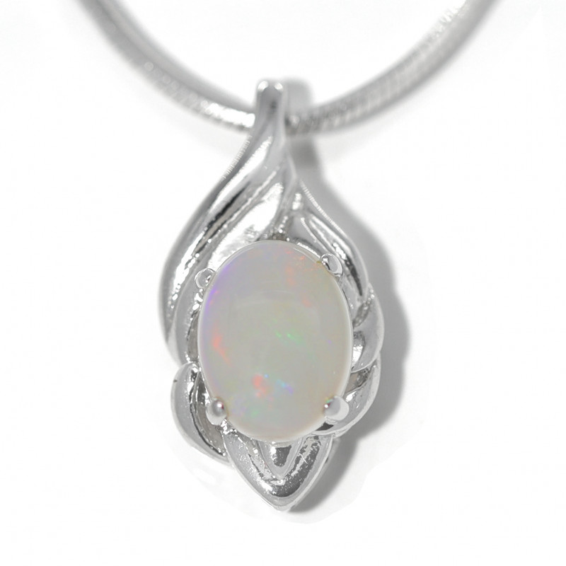 925 ST/ SILVER RHODIUM PLATED COOBER PEDY  OPAL PENDANT [TP11]