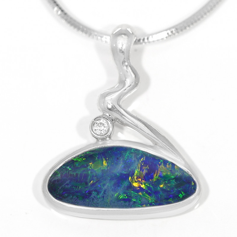 925 ST/ SILVER RHODIUM PLATED OPAL DOUBLET PENDANT [TP19]