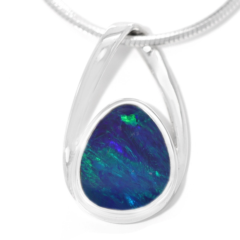 925 ST/ SILVER RHODIUM PLATED OPAL DOUBLET PENDANT [TP18]