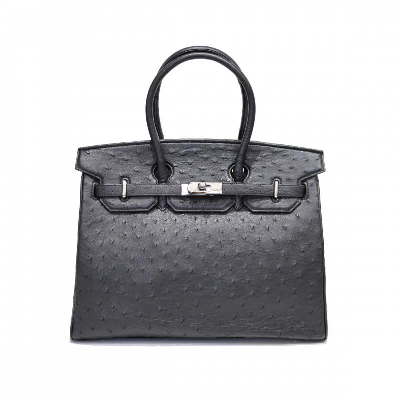 OSTRICH LEATHER BAG #BLACK