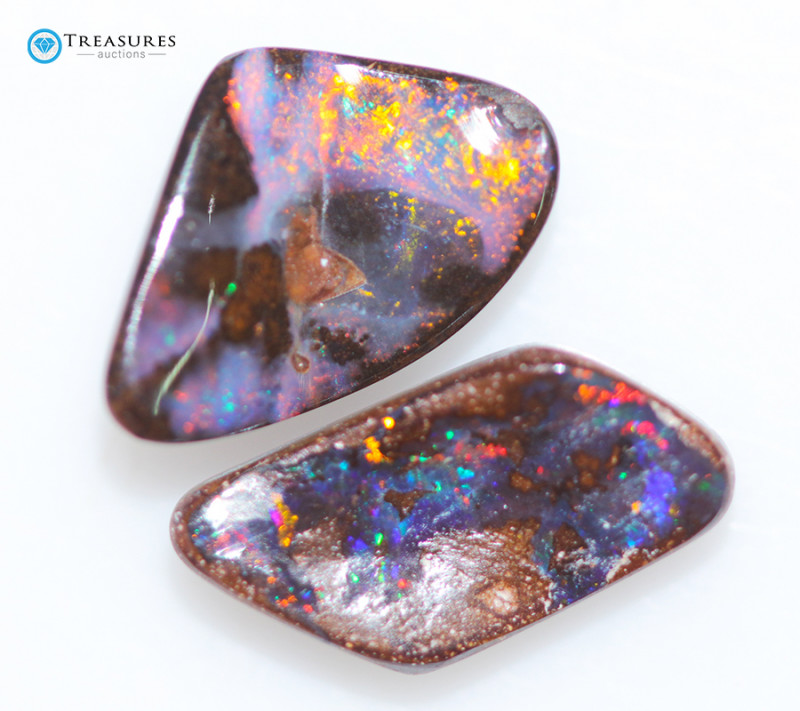 5.70Cts Queensland Boulder Opal, 2 Pieces Nice Pattern  CH215