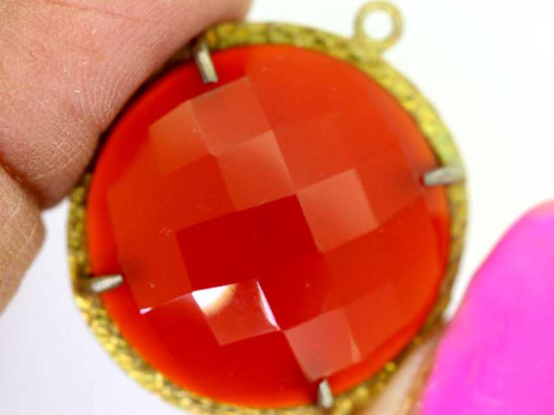 26.40CTS - FACETED CARNELIAN PENDANT RJA-718-rarejewelry