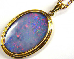 LARGE OPAL DOUBLET PENDANT YELLOW 18K GOLD JO 1416