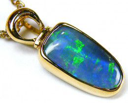 GORGEOUS GREEN FLASH 18K YELLOW GOLD OPAL PENDANT JO 1424