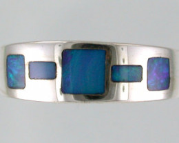 NEW OPAL INLAY RING STERLING SILVER SIZE 7 SS 442