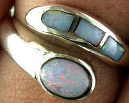 NEW OPAL INLAY RING STERLING SILVER SIZE 6 ½   SS 457