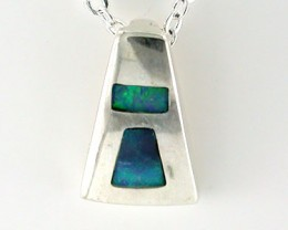 NEW OPAL STERLING SILVER INLAY PENDANT SS 617