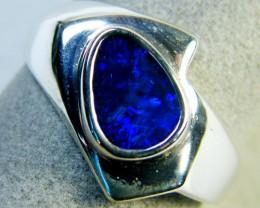 LARGE ELECTIC BLUE DOUBLET SILVER RING SIZE 7 1/2 EN950[OA]