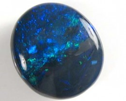 #2.20 CTS OVAL HAND CUT BLACK OPAL WITH ROYAL GREEN BLUE FIRE CABOCHON