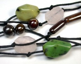 BOULDER OPAL NECKLACE LONG, QUARTZ, CHRYSOPRASE AP 607