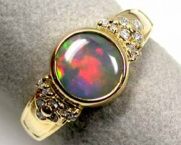 GEM FIRE CRYSTAL OPAL 18K GOLD RING SIZE 6 SCO1209