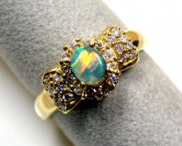 Gem OPAL RING 18K GOLD 26 BRILLIANT CUT GENUINE DIAMONDS Sco808