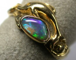 BLACK OPAL DOLPHIN  RING 18K GOLD SIZE  6.5  SCA 717