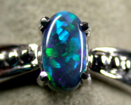 SCREAMING BLACK OPAL RING 18K  WHITE GOLD SIZE6  SCA 723
