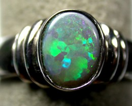 PIN FIRE BLACK OPAL RING 18K  WHITE GOLD SIZE 6.5  SCA 727