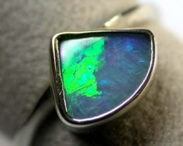 OPAL IN 18K WHITE GOLD BEZZEL SET RING SIZE 5.5  SCA 754
