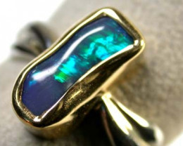 OPAL IN 18K WHITE- YE GOLD BEZZEL SET RING SIZE 7.5  SCA 755