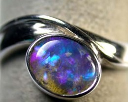 OPAL IN 18K WHITE GOLD BEZZEL SET RING SIZE6.5   SCA 757