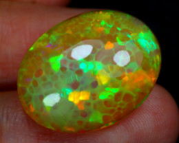 13.59Ct Honeycomb Pattern Neon Flash Color Welo Opal E2901