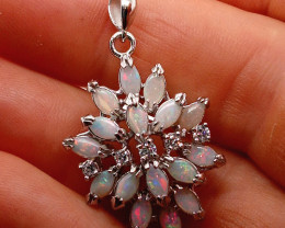224373 Multiple Light Opal and Cubit Zirconia  Silver Pendant