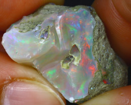 37.44Ct Multi Color Play Ethiopian Welo Opal Rough HR155/R2