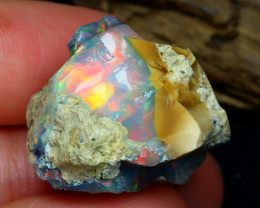 Welo Rough 27.52Ct Natural Ethiopian Play Of Color Rough Opal E0401