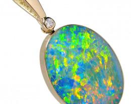 Australian Opal Pendant 21.8ct 14k Gold Large Jewelry Gift #D85