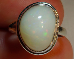 6.75sz Bright Solid Natural Multicoloured Opal .925 Silver Ring