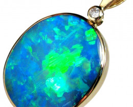 Australian Opal & Diamond Pendant 17.5ct 14k Inlaid Doublet #787