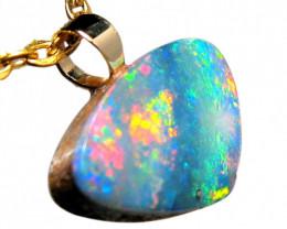 Australian Opal Pendant Solid 14k Gold Cute Gem Gift D97 2.9ct